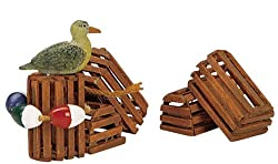 Lemax Plymouth Corners Village Collection 3-Piece Wooden Lobster Pots #14636