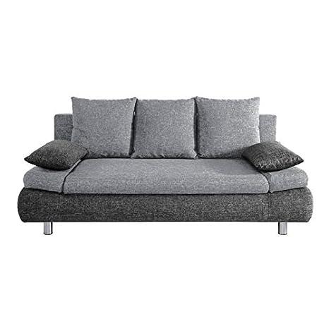 NAHO Canapé droit convertible pieds métal chromé 3 places - Tissu - Gris clair et anthracite - Contemporain - L 205 x P 97 cm