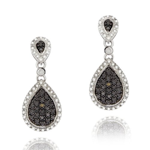 Sterling Silver Champagne Diamond Accent Dangle Earring