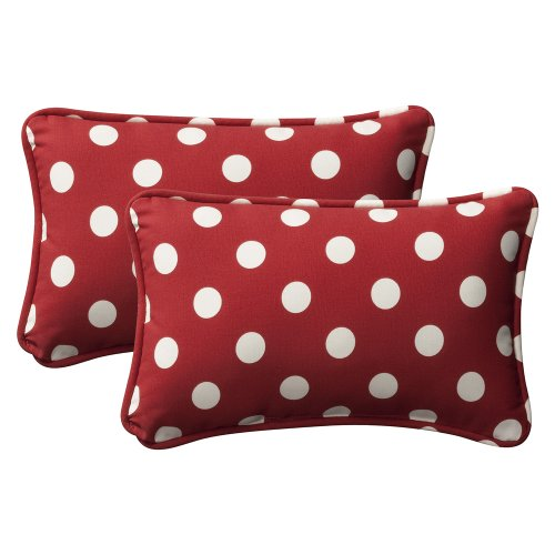 Pillow Perfect Decorative Red/White Polka Dot Toss Pillow, Rectangle, 2-Pack front-955585
