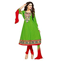 Parabdhani Fashion Women's Cotton Semi Stitched Suit (PBF_DM_21_Green_Free Size)
