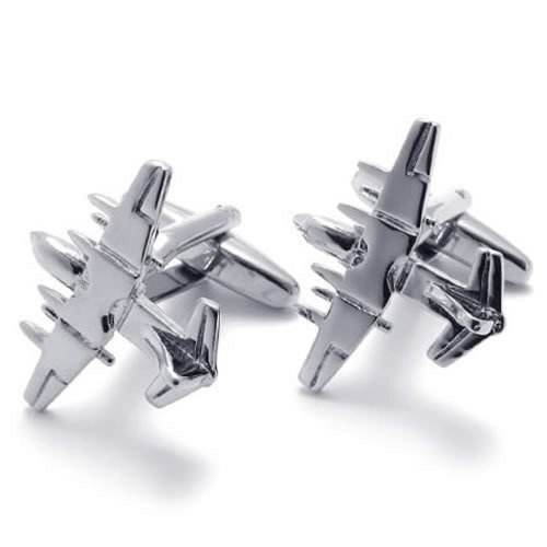 Konov Jewelry 2Pcs Rhodium Plated Classic Personalized Fighter Plane Shirts Men'S Cufflinks, Color Silver, 1 Pair Set