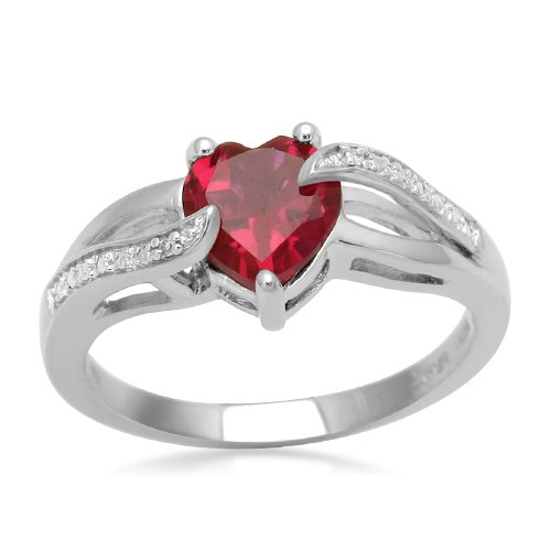 Sterling Silver Heart Created Ruby and Diamond Ring, Size 8