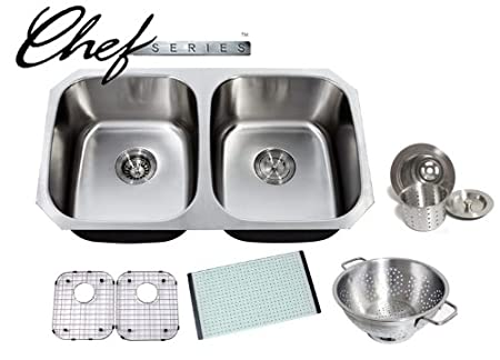 Chef Series 32 Inch Premium 16 Gauge Stainless Steel Undermount 50/50 Double Bowl Kitchen Sink with Free Accessories
