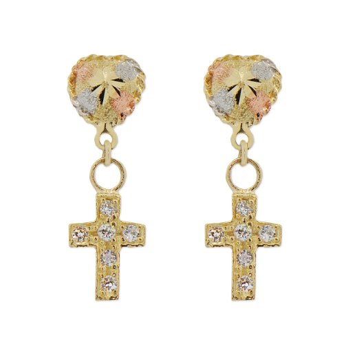 14k Yellow Gold, Heart and Cross Dangling Screw Back Stud Earring Lab Created Gems