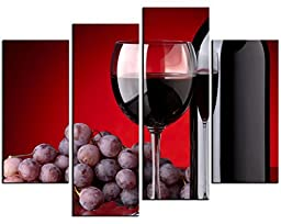 Canval prit painting Wine Wall Art a Cup of Wine and Wine Bottle with Some Grapes 4 Pieces Picture on Canvas