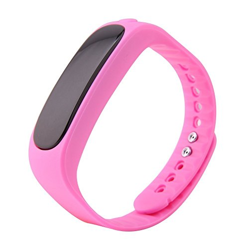 Happy Hours® Bluetooth 4.0 Sync Android IOS Smart Bracelet Sports Fitness Tracker Waterproof IP57 Pedometer Sleep Monitoring Anti-lost Stopwatch Passometer Silicone Wristband E02, Hot Pink