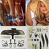 [12 Styles & 12 Sheets Pack Designs] Sq Deal Gold Metallic Removable Waterproof Temporary Flash Tattoo Pattern & Golden Bling Glitter Tattoo Stickers Body Art Sex Products For Girls And Teens,Women,Men