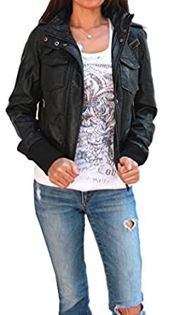 Faux Leather Bomber Jacket with Removable Knit Hood (small, antique brown)