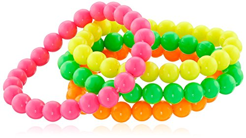 Smiffy's Women's Beaded Bracelets Neon, Multi, One Size - 1