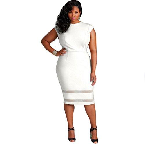 Anboo Women Plus Size Design Solid Sleeveless Gauze Splice Mini Dress (XXL, white)
