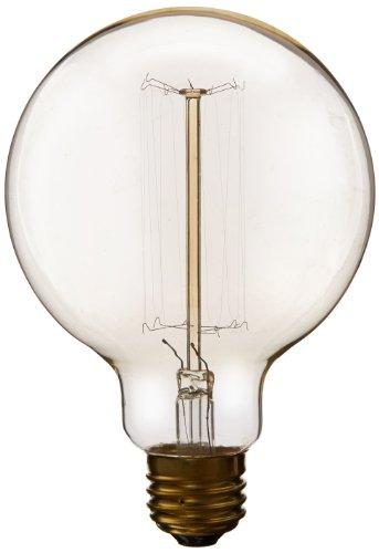 Heirlume Hl-7040Wpack1 Vintage Edison Bulb 40-Watt With Medium Base And Globe Shape, 3.7-Inch X 5.4-Inch, 1-Pack