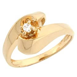 10k Yellow Gold Beautiful Twist Round Diamond Solitaire Promise Ring