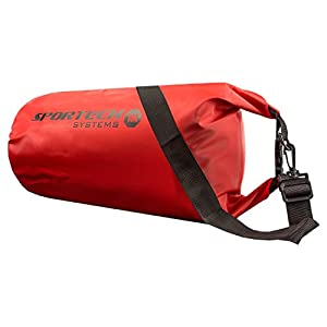 Sportech Systems 15L Waterproof Dry Bag with Adjustable Shoulder Strap - Great Compression Dry Bag for Hiking, Camping, Kayaking, Boating, Rafting, Snowboarding and all Outdoor Activities! Keeps Everything Protected and Dry! - Red