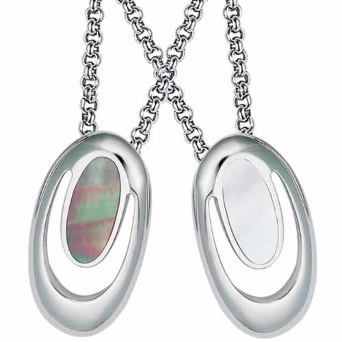 Gorgeous Stainless Steel with Mother of Pearl Pendant-Natural Light or Dark Oval Shaped (Stainless Steel Chain Included)