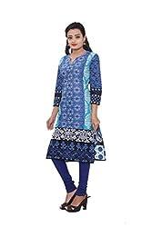 KIMYRAA Women's Cotton Kurta (KLK-1008-BLUE-M)