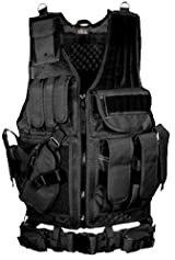 GMG Global Military Gear Left Handed Tactical Scenario Hunting Assault Military Vest With Lefty Hand Quick Draw Pistol Holster - Black