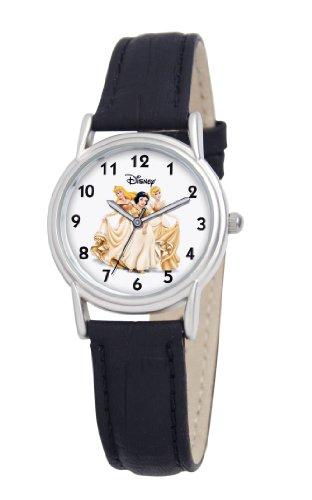Disney Women's D085S005 Princess Black Leather Strap Watch