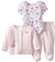 ABSORBA Baby-Girls Newborn Bear 3 Piece Jacket Set, Pink, 3-6 Months