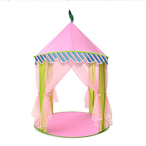 Cheap [New Design] ODOLANDPrincess Castle,Children Play Tentfor Kids Indoor & Outdoor Pink Playhouse...