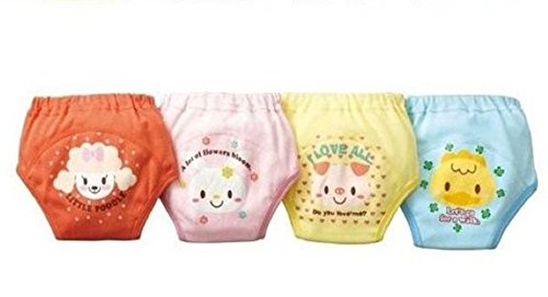 Tai523 4 X Baby Toddler Girls Cute 4 Layers Waterproof Potty Training Pants Reusable (90)