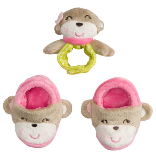 Carter'S Girls 3 Piece Monkey Baby Booties And Rattle Set (0-6 Months) front-141433