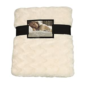 Snuggle Touch Faux Fur Waves Throw, Cream, 130 x 180 Cm