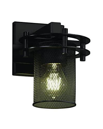 Justice Design Circa 1-Light Wall Sconce, Matte Black/Black Mesh