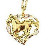 Black Hills Gold Heart Horse Necklace