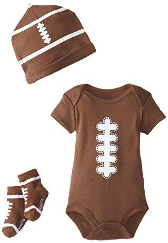Vitamins Baby Baby-Boys Newborn Football 3 Piece Creeper Set, Brown, 6 Months