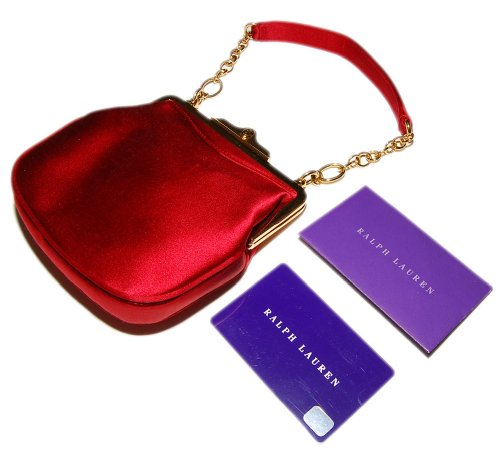 Polo Ralph Lauren Purple Label Collection Red Silk Evening Wedding Purse Bag