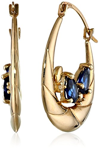 10k-Yellow-Gold-Created-Blue-and-White-Sapphire-Hoop-Earrings