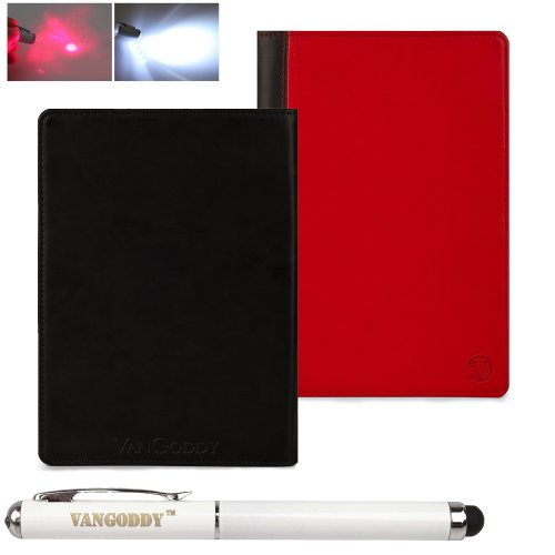 Nobility Book Style, Red on Black Vangoddy Trade name Mary Collection Leather -ette Portfolio Top Cases for All Models of the Pandigital SuperNova 8-inch Tablet Computer + Vangoddy Label Stylus Pen with Laser Pointer and LED Light