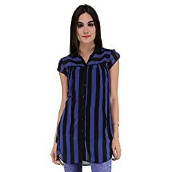 Terquois shirt with strips & inner (633_Blue&Black_XXL)