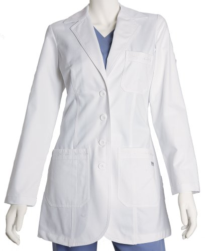 Grey's Anatomy 4425 Junior 3pkt Fitted Front White Lab Coat w/ Embroidered Heartline Detail (2X) (Details Coats compare prices)