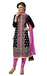 Parinaaz fashion Black Chanderi Straight Dress Material
