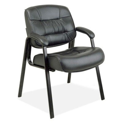 Visitors Leather Chair Leather Color: Black
