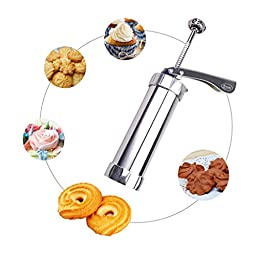 Monkeybrother Stainless Steel DIY Household Biscuit Machine Biscuit Cutters Spritz Dough Cookie Gun with 20 kinds of biscuits and 4 flower decoration