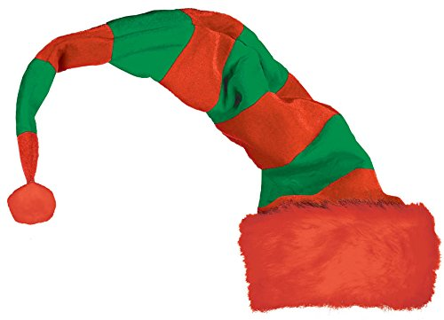 Long Striped Red and Green Elf Hat - 1