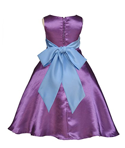 Wedding Pageant Purple A-Line T-Length Flower Girl Dress 821S M