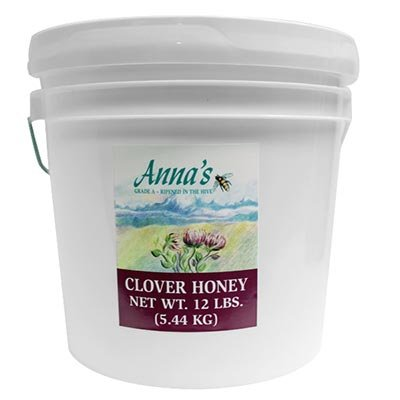 Anna's Gourmet All-Natural Clover Honey Pail 12 Lb. 100% Pure US Grade A Raw Natural Honey
