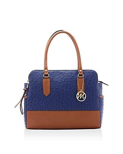 Emilie M. Women's Montello Triple Compartment Shoulder Bag, Navy/Cognac