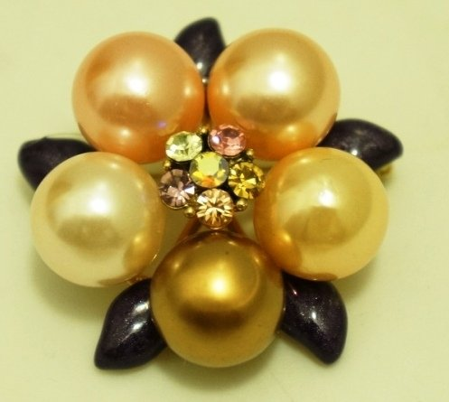 Pastel Color Flower Brooch / Pin with Czech Crystal Rhinestones