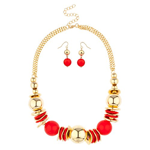 Lux Accessories Red Stone Bead Disc Statement Necklace Beaded Earrings