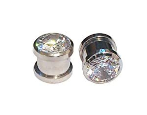 0g Ear Gauges - 1 Pair of 316L Stainless Screw Fit CZ Bling Tunnels Size 0g. CZ Plugs.