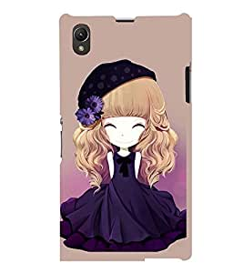 Printvisa Animated Girl With Blue Dress And Flowers In Hair Back Case Cover for Sony Xperia Z1::Sony Xperia Z1 L39h