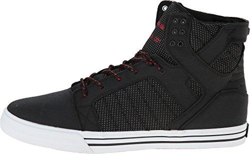 Supra Skytop Black/Red/Textured Nubuck Sneaker Medium / 10 C/D US Women / 8.5 D(M) US Men
