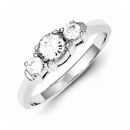 Solid 925 Sterling Silver Cubic Zirconia Cz Engagement Ring (2Mm)