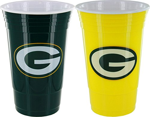 Green Bay Packers Home/Away Color Plastic Cup Set (Green Bay Packer Beer Glass compare prices)