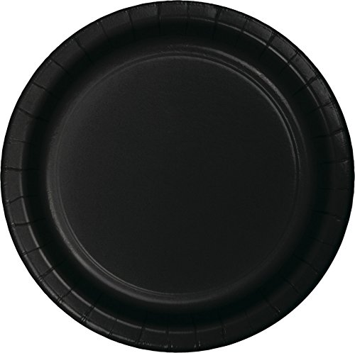 Creative Converting Value Pack Paper 8 3/4 inch Dinner Plates, Black Velvet, 75-Count - 1